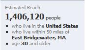 Facebook local reach Eastern MA